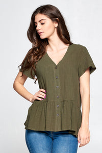 BUTTON DOWN PEPLUM BLOUSE | OLIVE