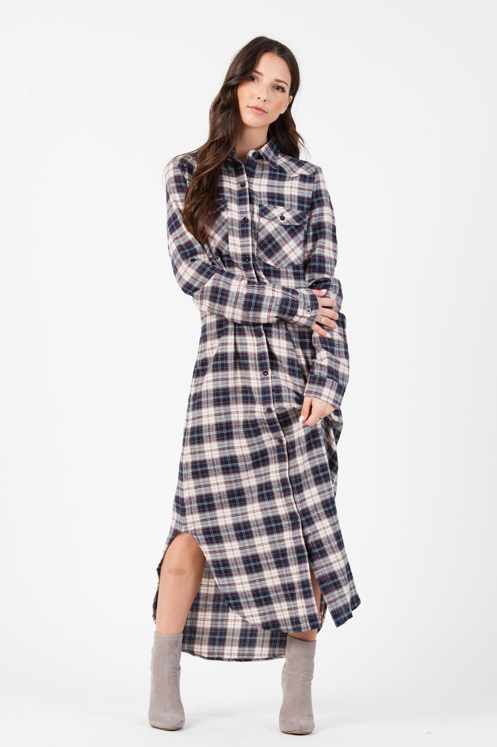 FLANNEL SHIRT DRESS| NAVY/WHT/RED PLAID