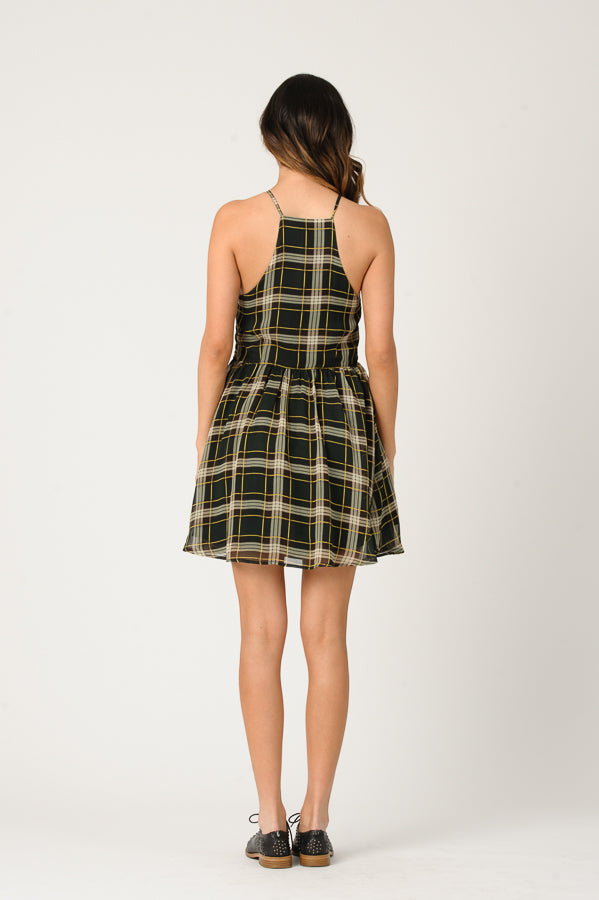 EVIE HALTER SKATER DRESS | GREEN PLAID