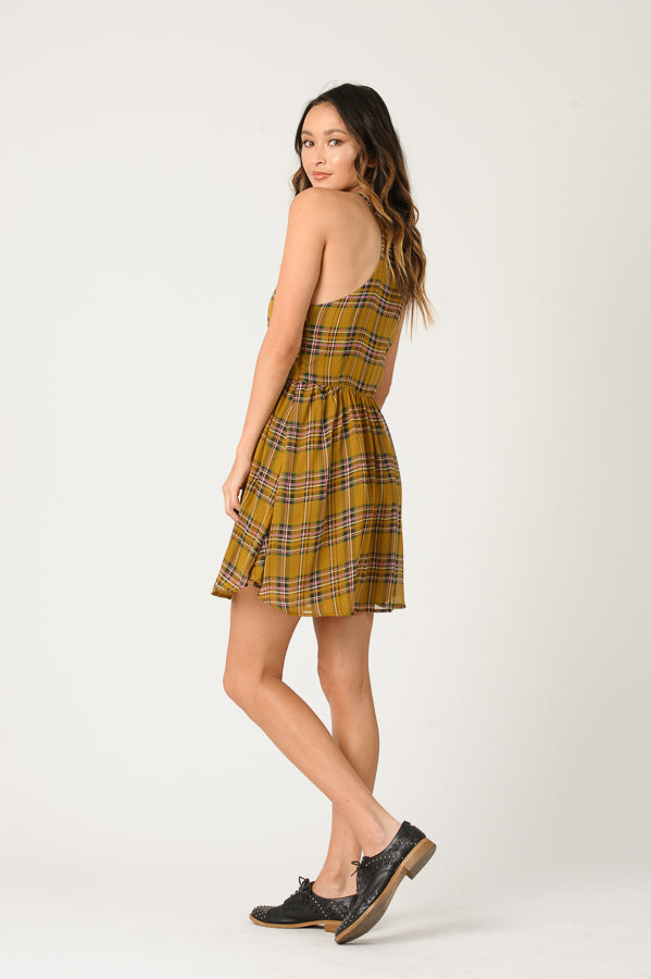 EVIE HALTER SKATER DRESS | MUSTARD PLAID