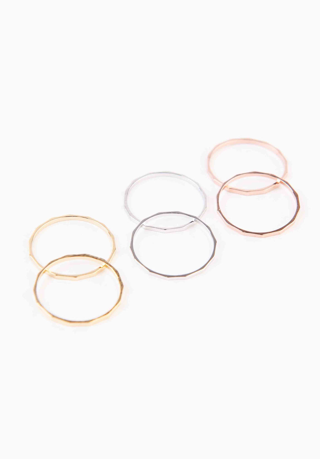 GEOMETRIC MULTI COLORED RING SET | GOLD