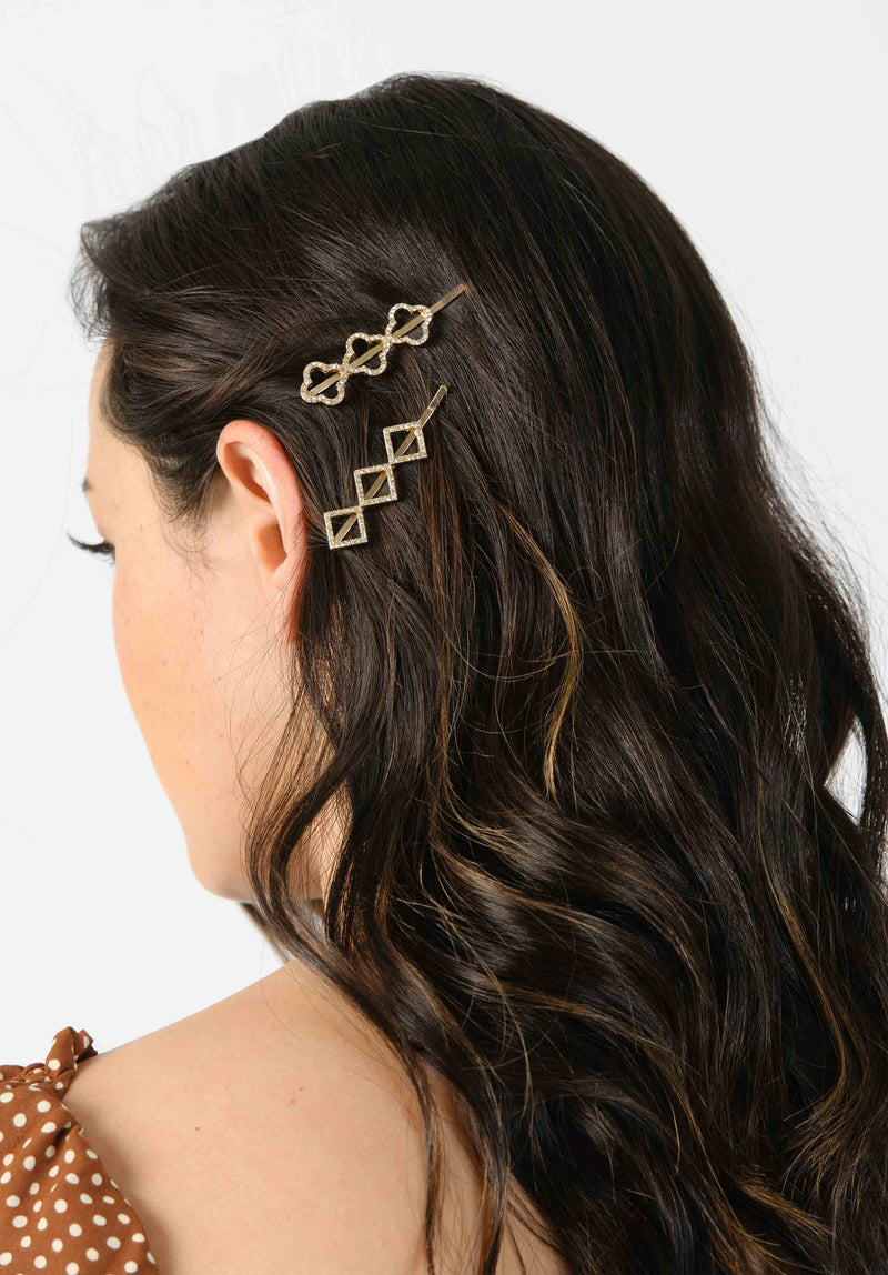 RHINESTONE HAIRCLIP SET | GOLD