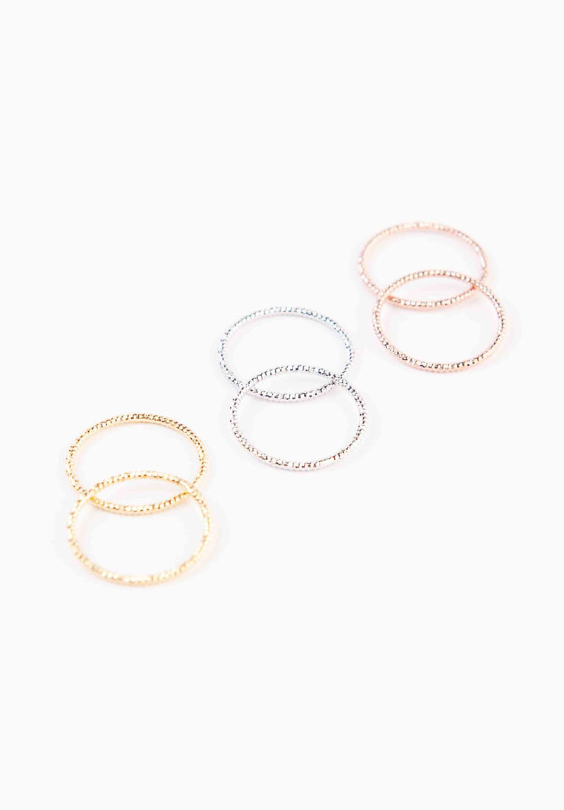 MULTI COLORED RING SET | GOLD