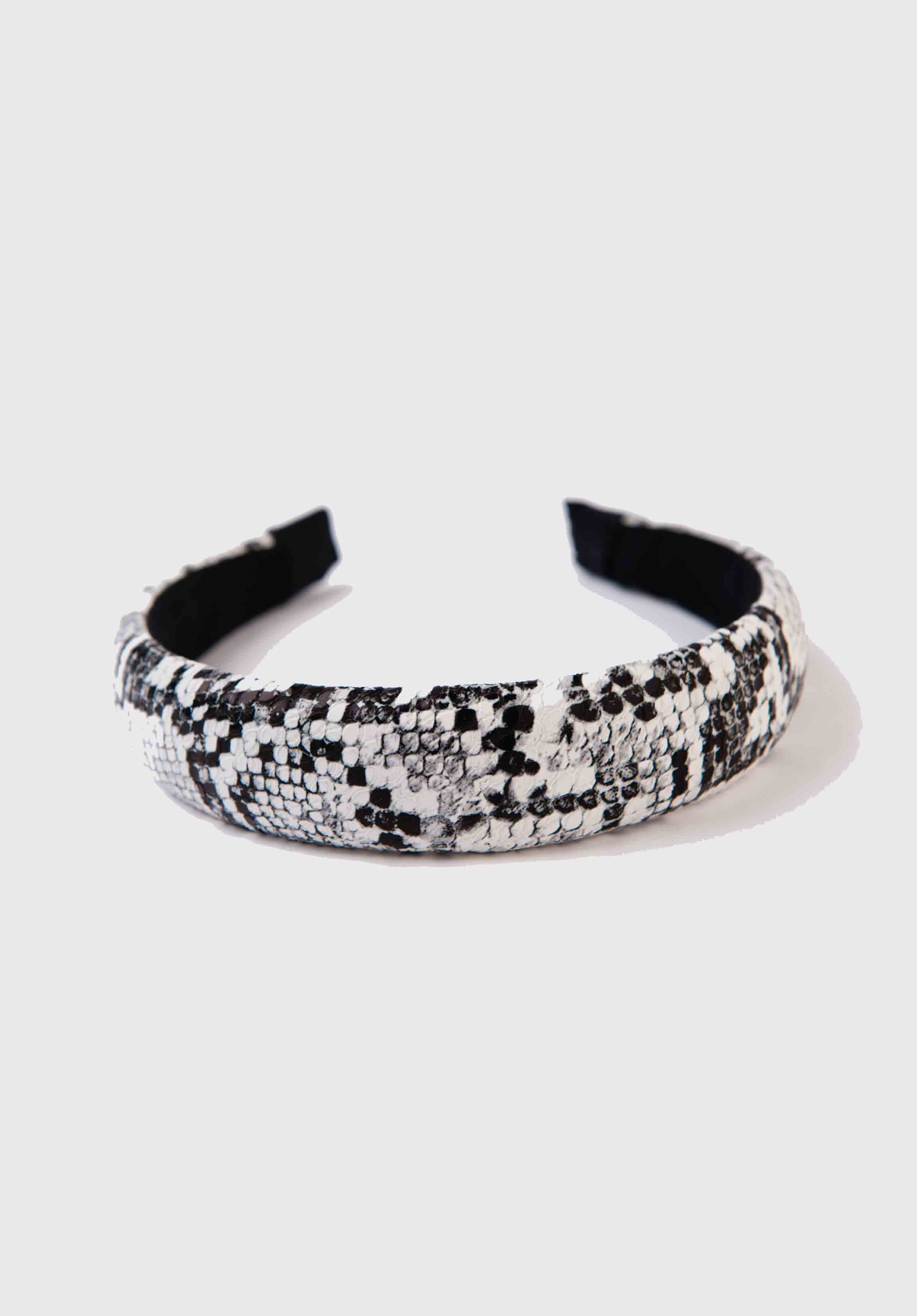 PUFF HEADBAND | BLACK/WHITE SNAKE
