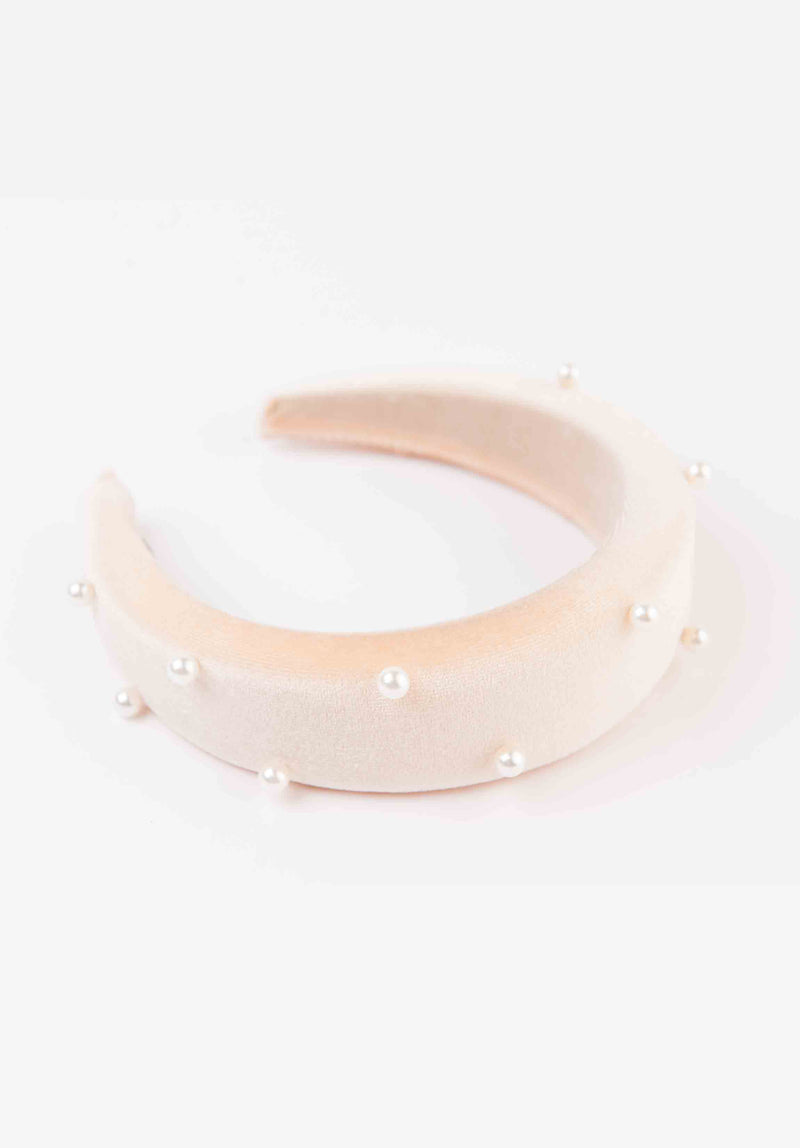 PUFFY HEADBAND | CREAM PEARL