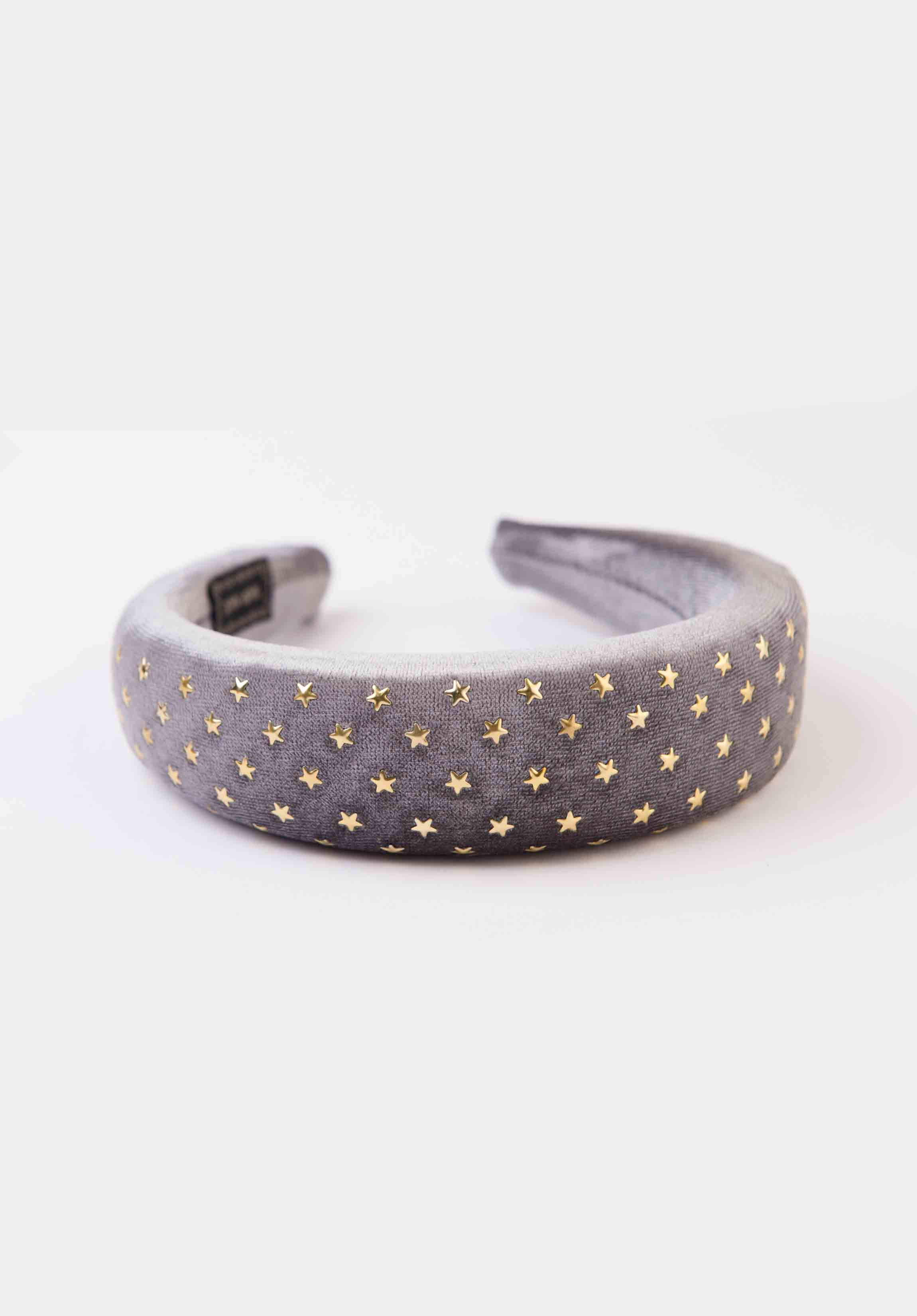 GOLD STAR PUFFY HEADBAND | GREY