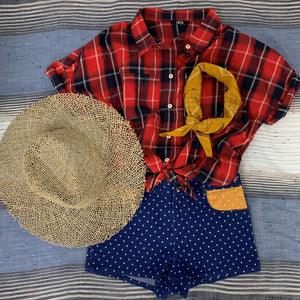 FARMHOUSE TOP RED/NAVY PLAID OR CHAMBRAY