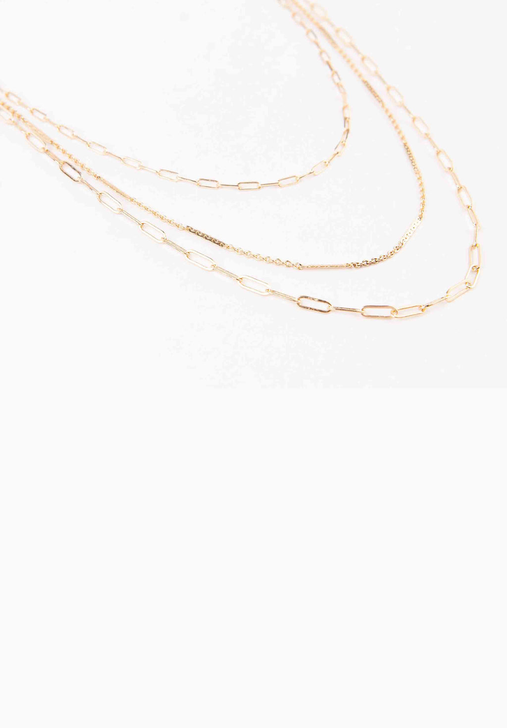 PAPER CLIP LAYERED CHAIN | GOLD