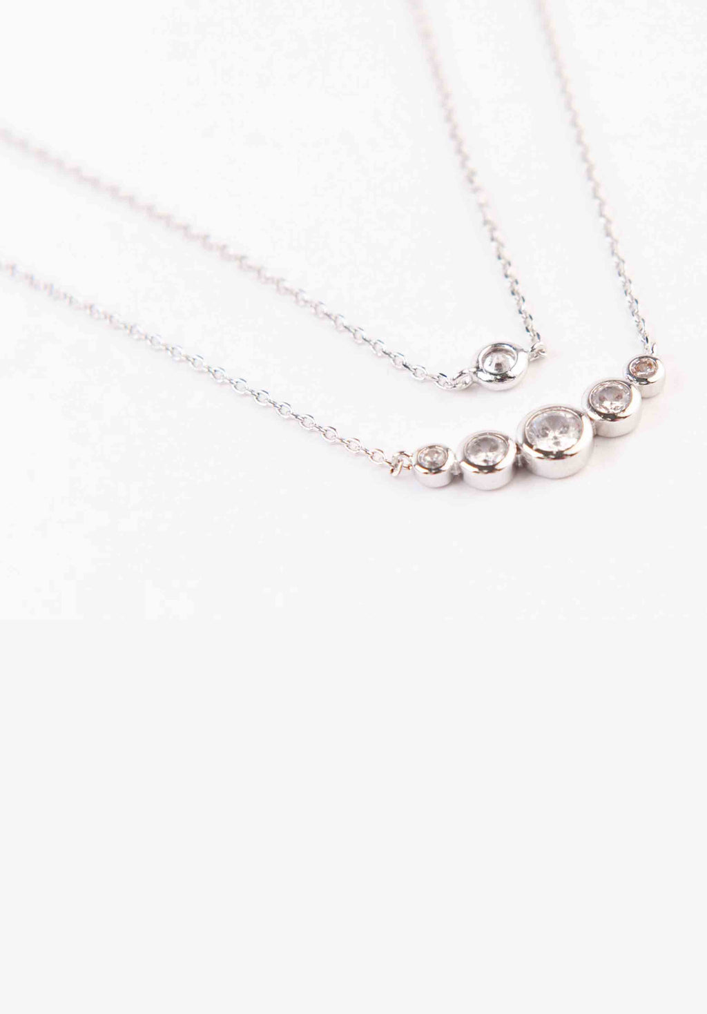 LAYERED SPHERE NECKLACE | WHITE GOLD