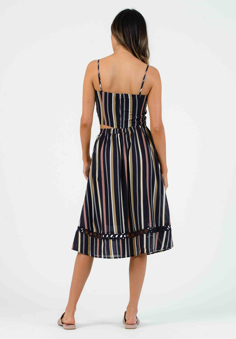 NATALIA MAXI SKIRT | NAVY MULTI STRIPE