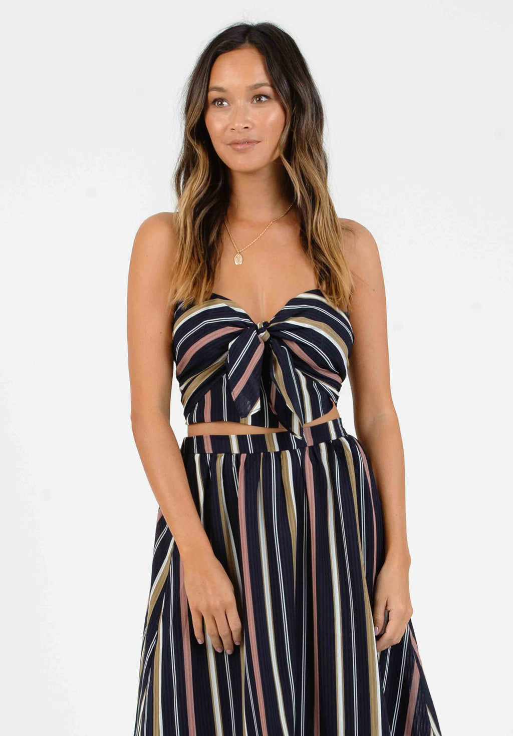 VALENTINA SWEETHEART TOP | NAVY MULTI STRIPE