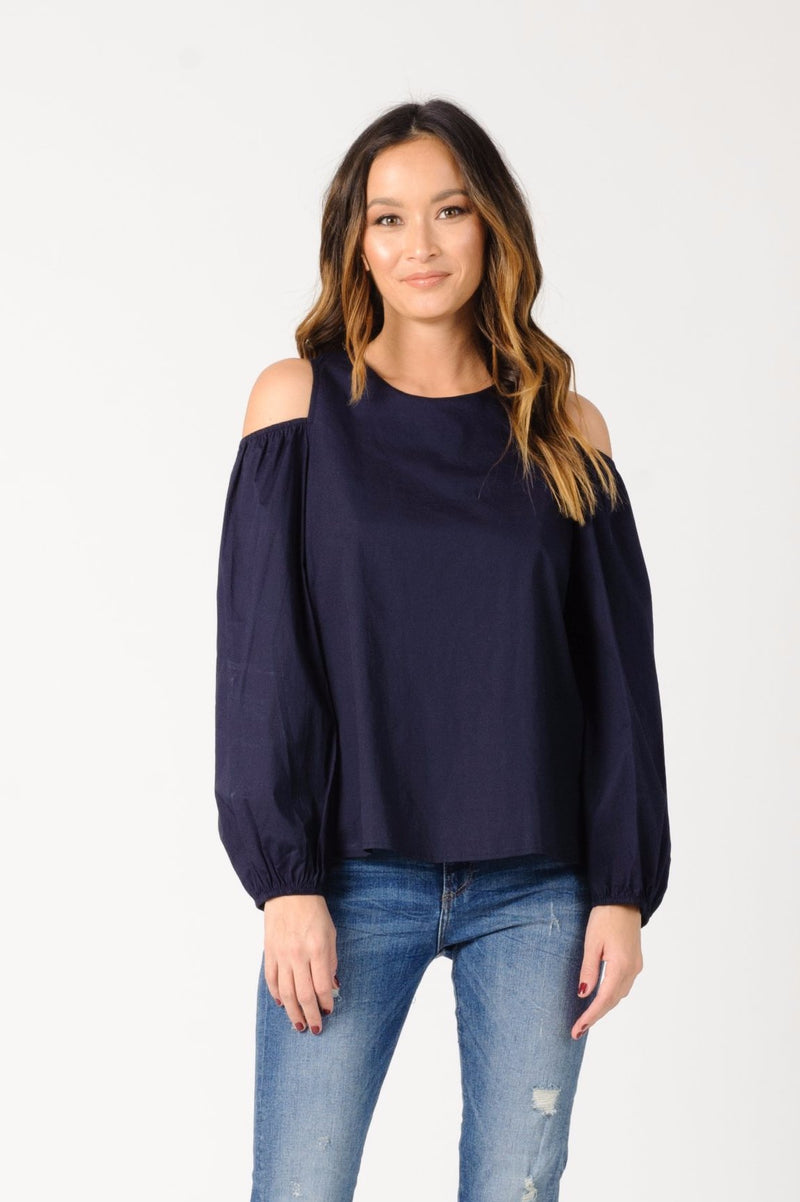 MICHELLE COLD SHOULDER TOP | NAVY