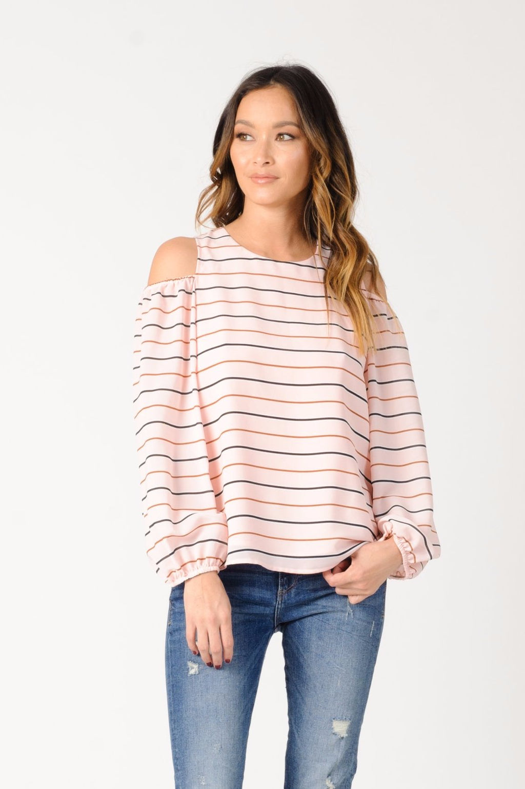 MICHELLE COLD SHOULDER TOP | PINK STRIPE