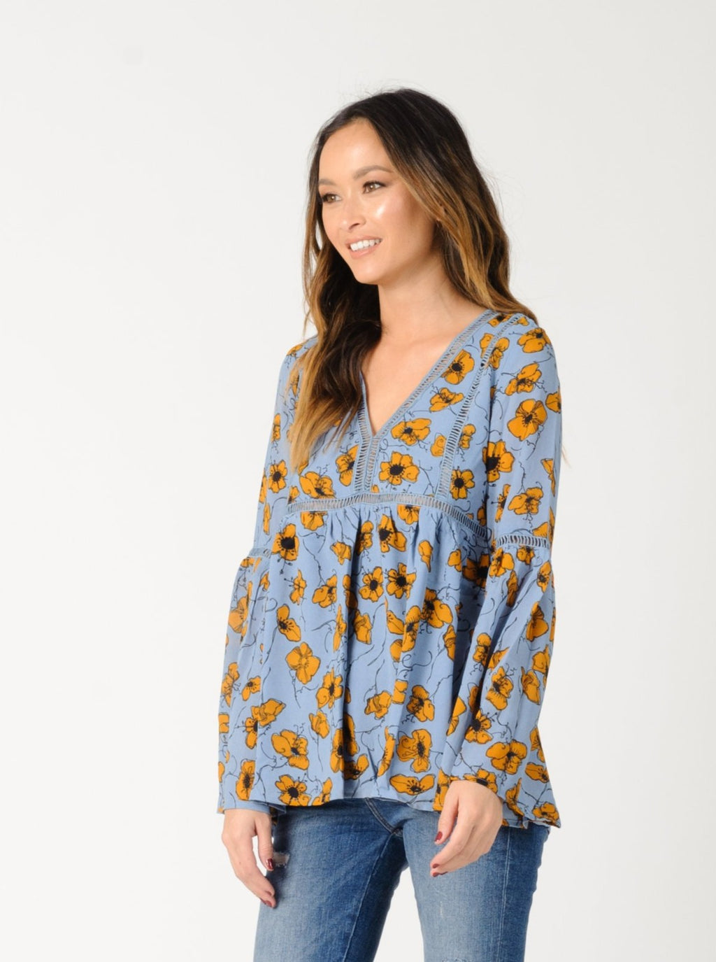 LAURA BELL SLEEVE TOP | BLUE GOLD FLORAL