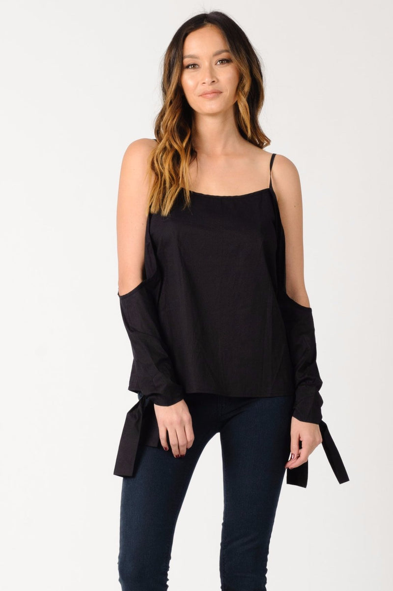 CAMILLA COLD SHOULDER TOP | BLACK