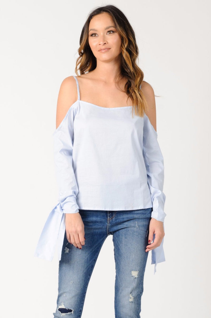 CAMILLA COLD SHOULDER TOP | LIGHT BLUE