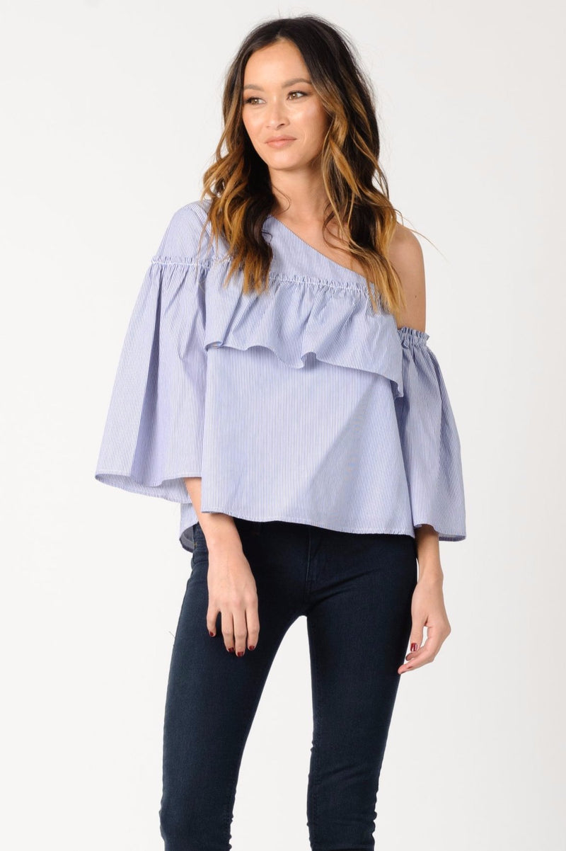 ADELINE RUFFLE TOP | BLUE WHITE STRIPE