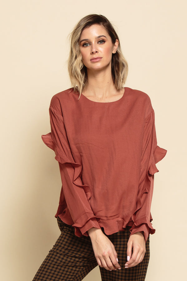SERENA RUFFLE SLEEVE TOP | AUTUMN ROSE