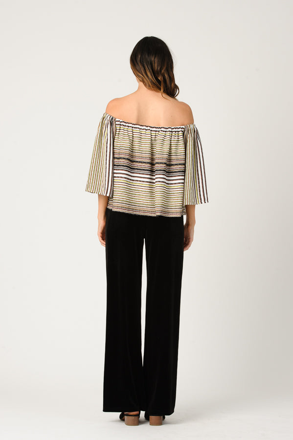 LAUREN OFF THE SHOULDER FLARE TOP | TAUPE MULTI STRIPE