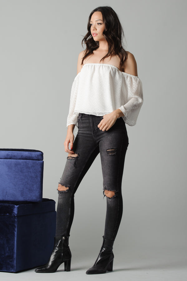 AUBREE OFF THE SHOULDER FLOUNCE TOP | WHITE