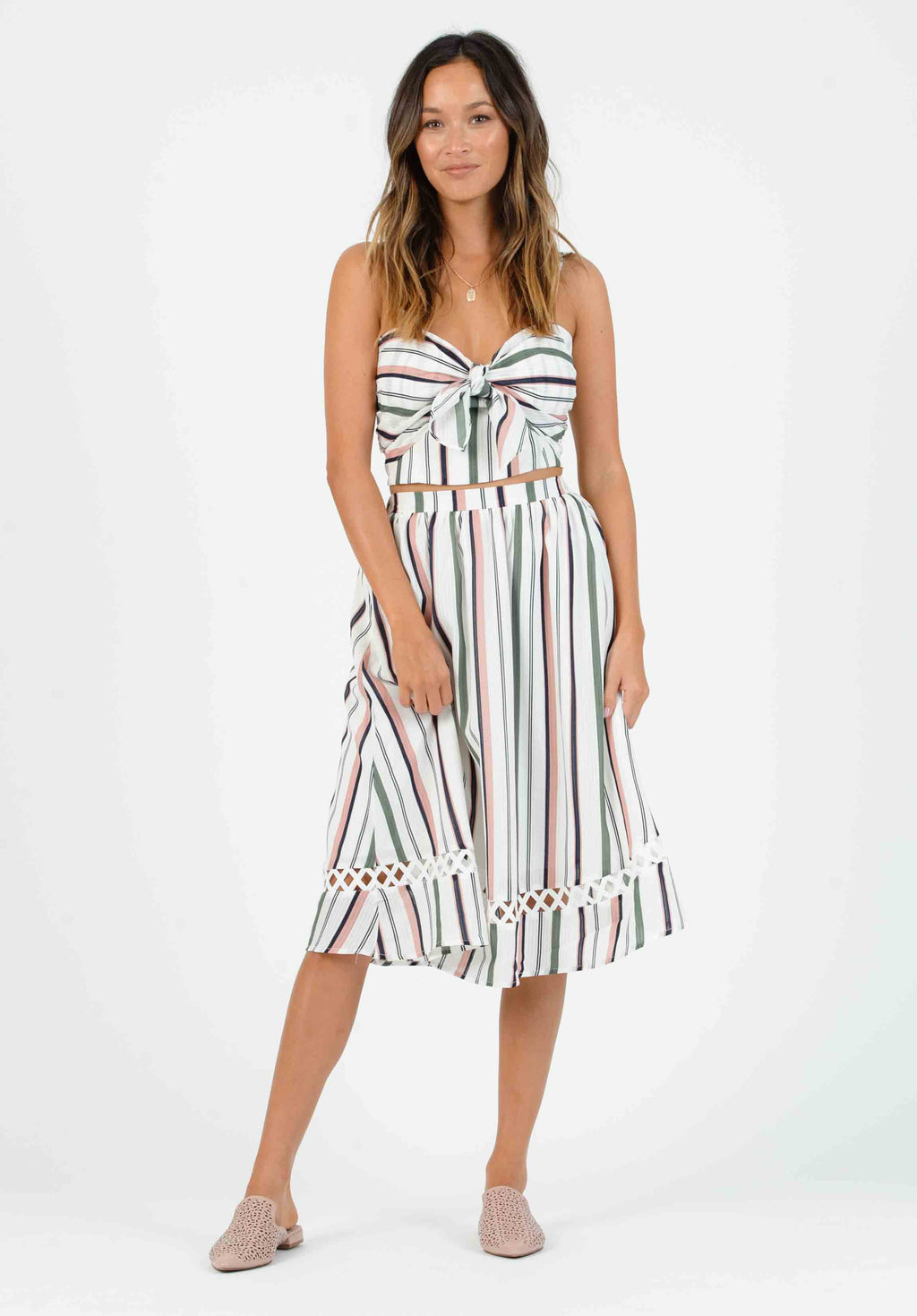 NATALIA MAXI SKIRT | WHITE MULTI STRIPE