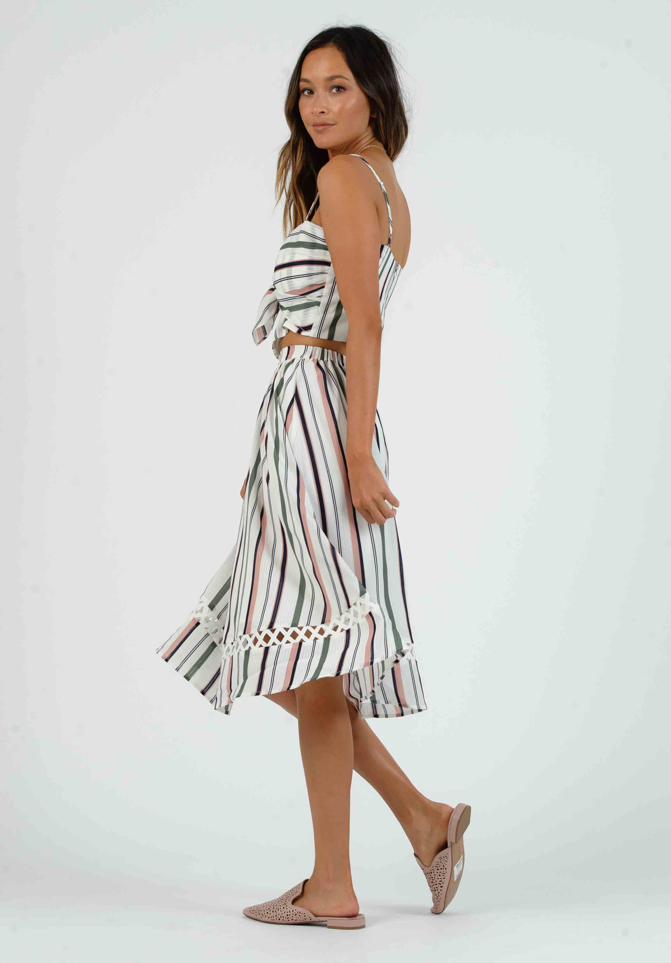 NATALIA MIDI SKIRT | WHITE MULTI STRIPE