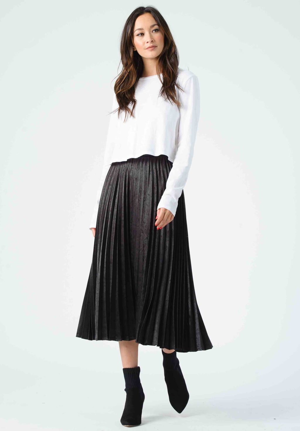 KORBEL PLEATED MIDI SKIRT | BLACK ZEBRA