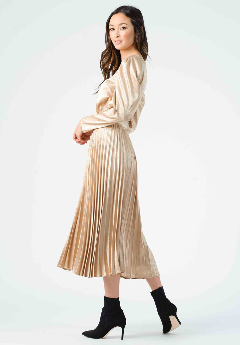 KORBEL PLEATED MIDI SKIRT | CHAMPAGNE ZEBRA