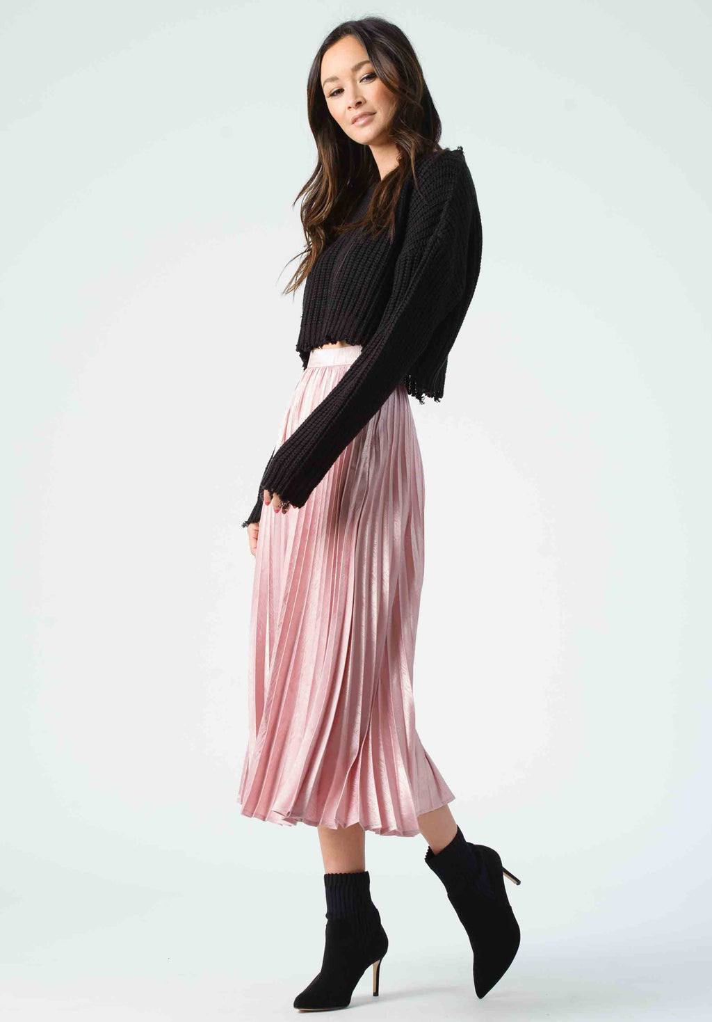 KORBEL PLEATED MIDI SKIRT | MAUVE ZEBRA