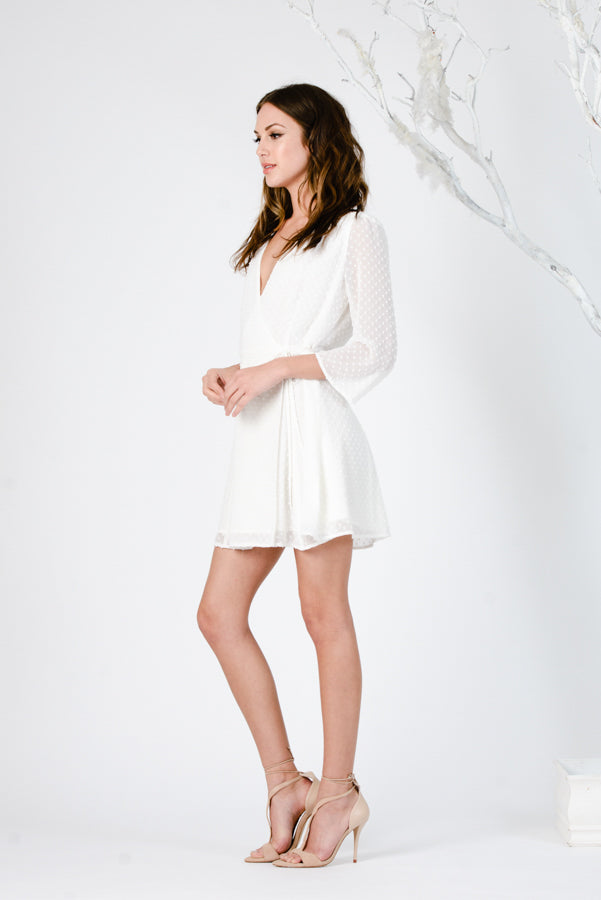MINI WRAP DRESS | IVORY