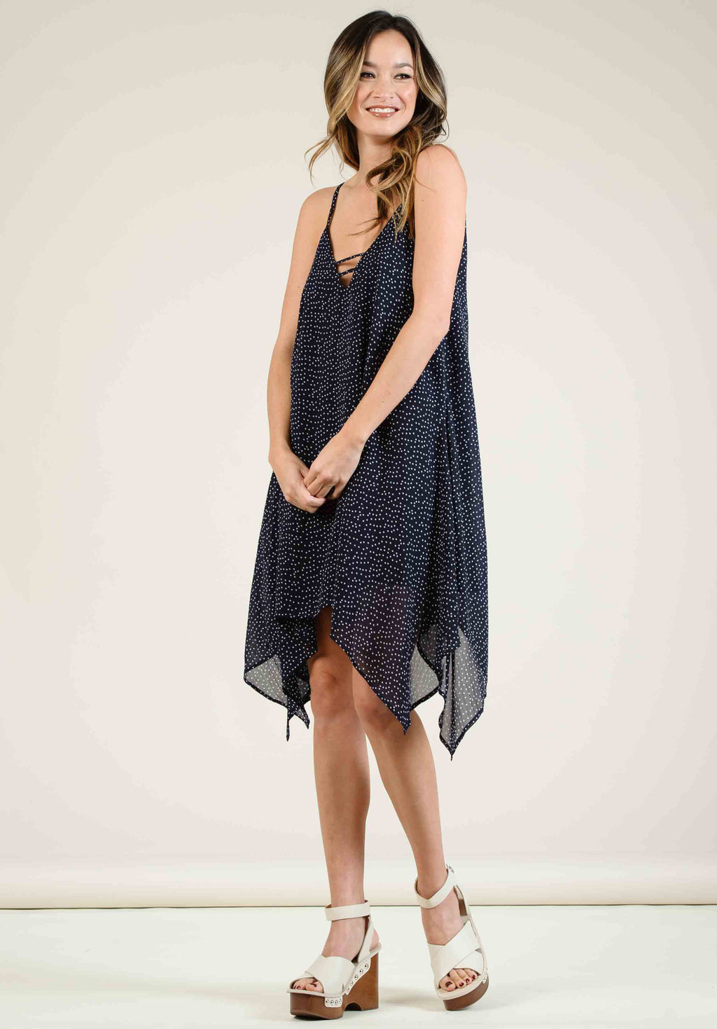 ELLA HANDKERCHIEF HEM MINI DRESS | NAVY POLKA DOT
