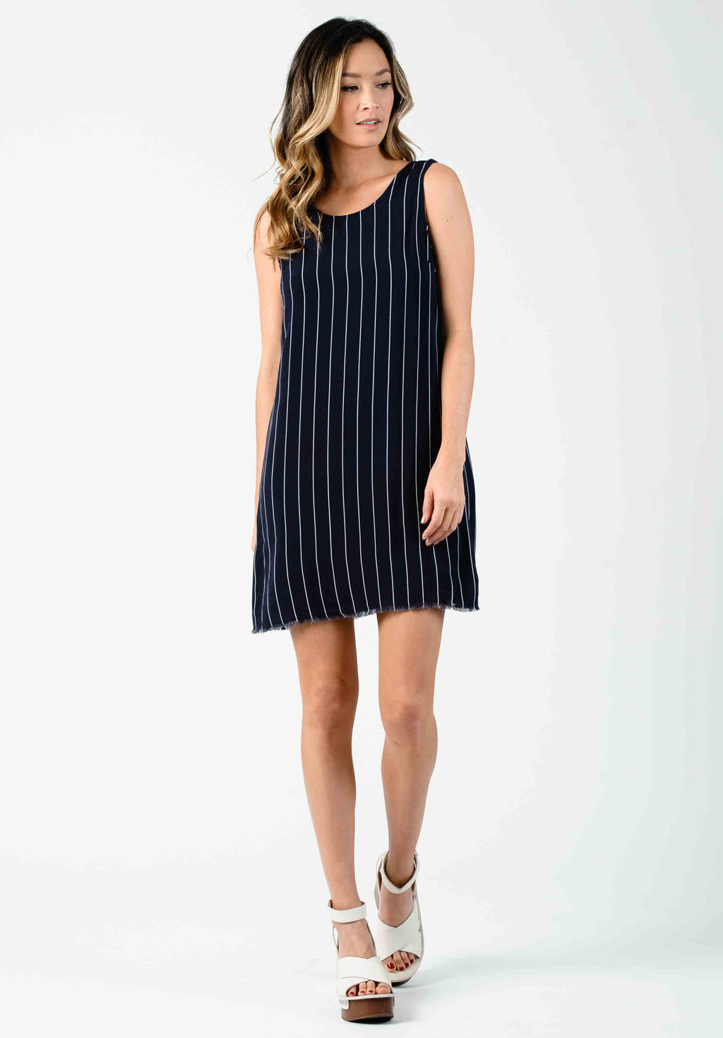 HEIDI LOW BACK SHIFT DRESS | BLUE WHITE STRIPE