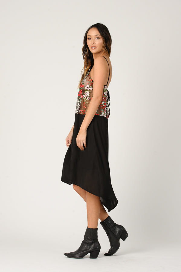 SAMANTHA EMBROIDERED CAMISOLE DRESS | FLORAL