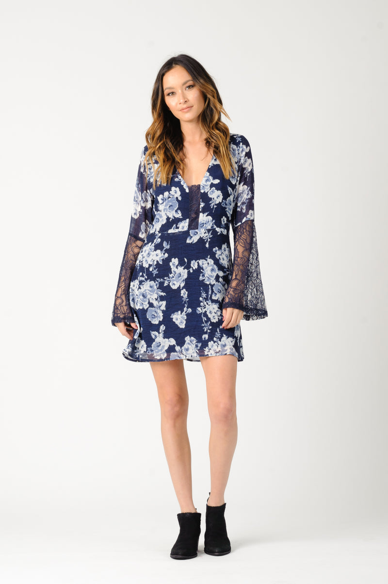 CHRISTINA MINI DRESS | NAVY FLORAL