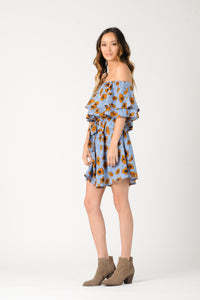 MARYBELLE OFF THE SHOULDER LAYERED DRESS | BLUE GOLD FLORAL