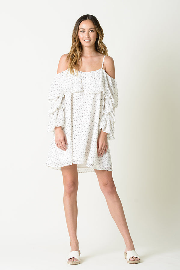 VALERIE RUFFLE OVERLAY DRESS | WHITE