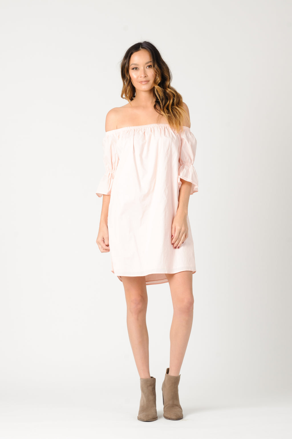 KATHERINE OFF THE SHOULDER DRESS | LT. PINK