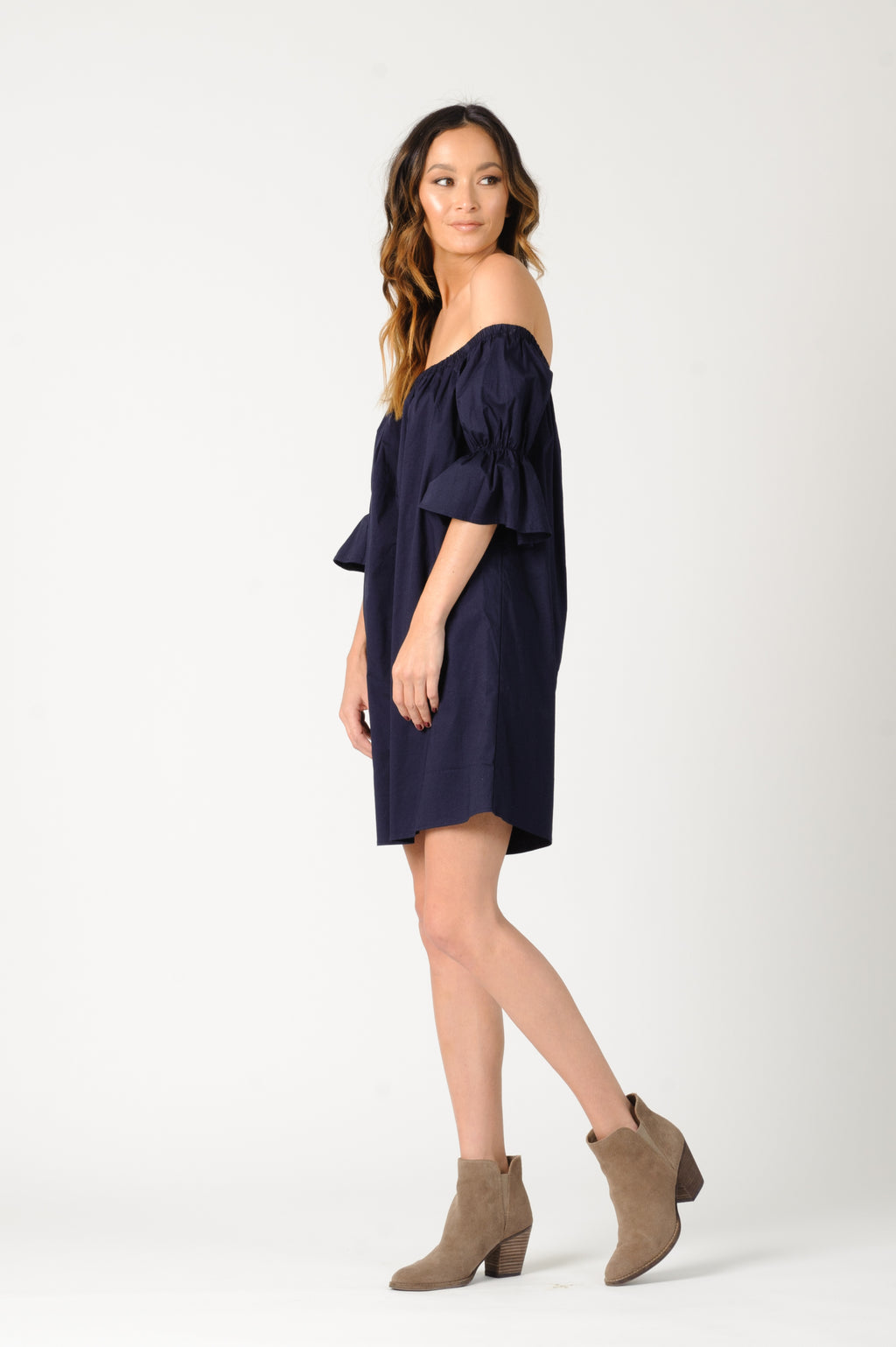 KATHERINE OFF THE SHOULDER DRESS | NAVY
