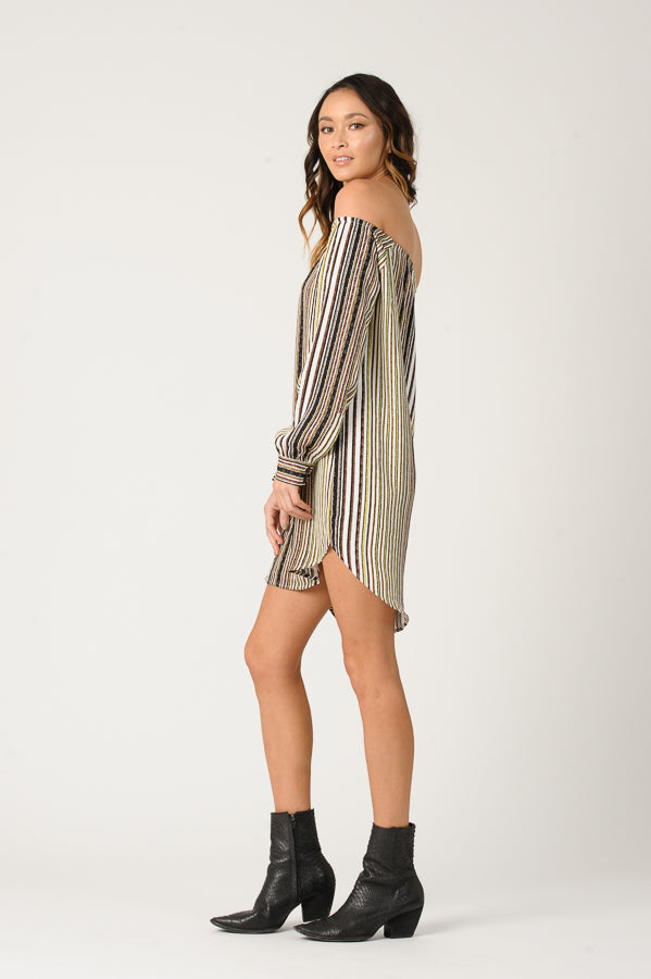 LEAH OFF THE SHOULDER SHIRT DRESS | TAUPE MULTI STRIPE