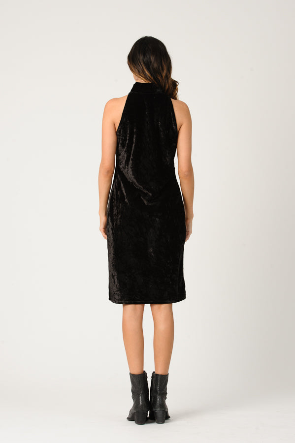 MILA MOCK NECK CRUSH VELVET DRESS | BLACK