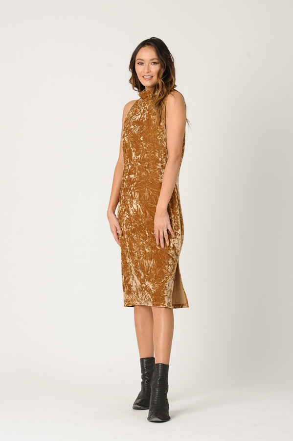 MILA MOCK NECK CRUSH VELVET DRESS | GOLD