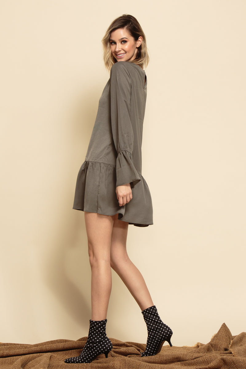 VIOLET POET SLEEVE MINI DRESS | MOSS