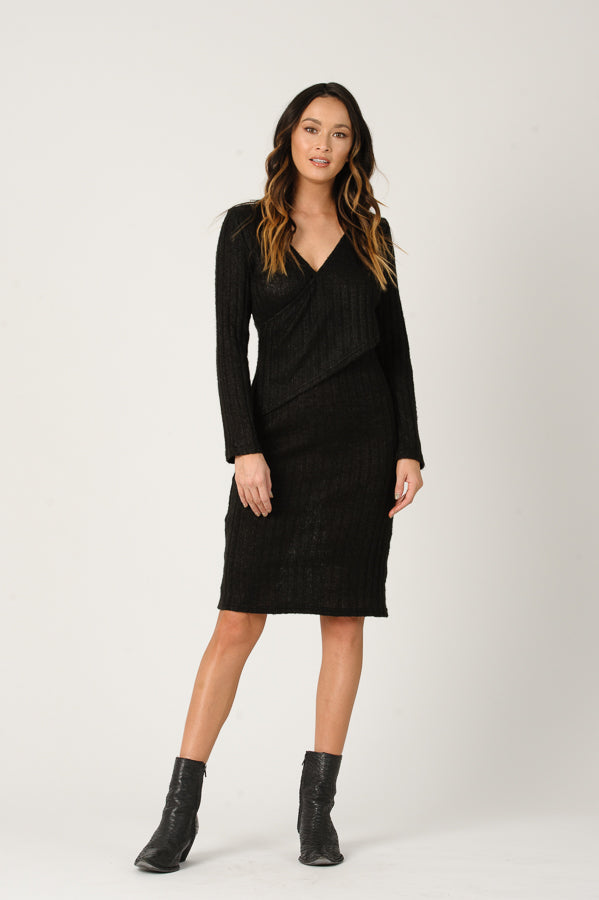 SAVANNAH SWEATER DRESS | BLACK RIB KNIT