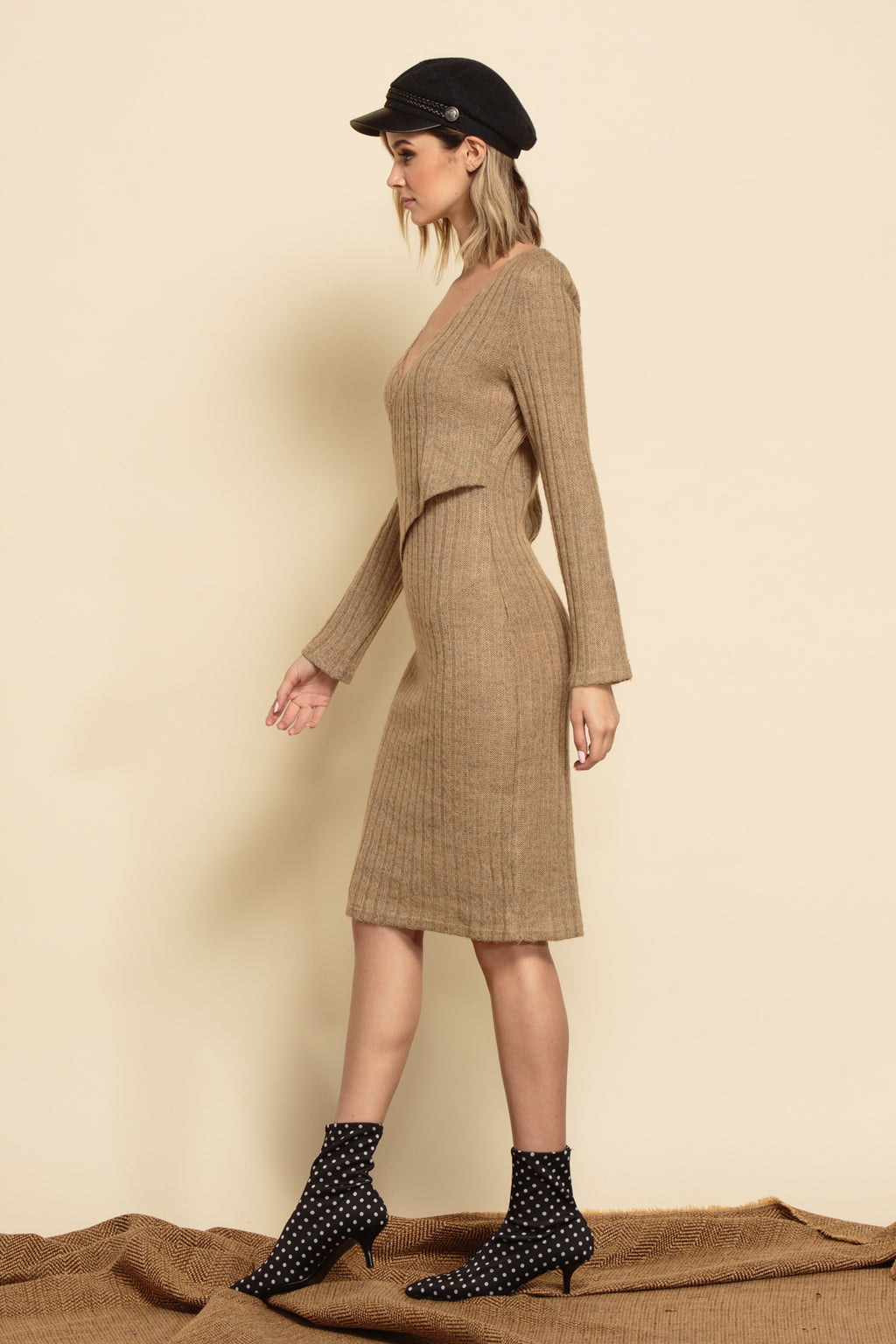 SAVANNAH MIDI SWEATER DRESS | TAUPE RIB KNIT