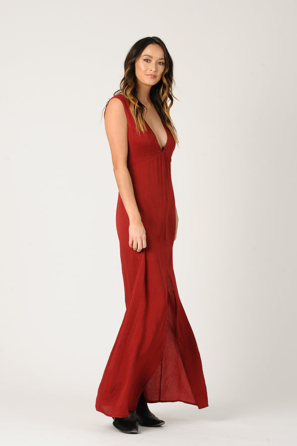 PAISLEY LOW V-NECK MAXI DRESS | WINE