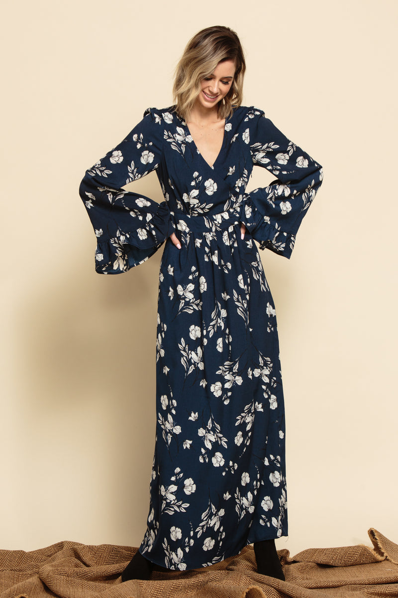 HAILEY BELTED WRAP DRESS | NAVY FLORAL