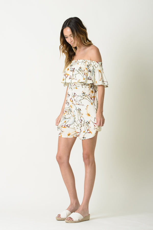 TESSA OFF THE SHOULDER ROMPER | WHITE FLORAL
