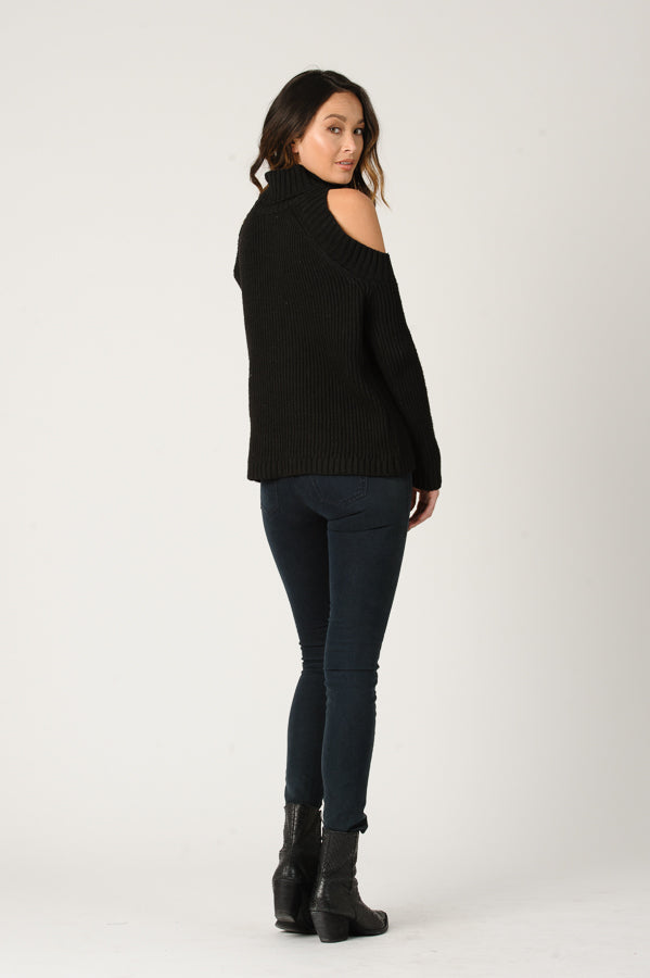 TATIANA COLD SHOULDER SWEATER | BLACK