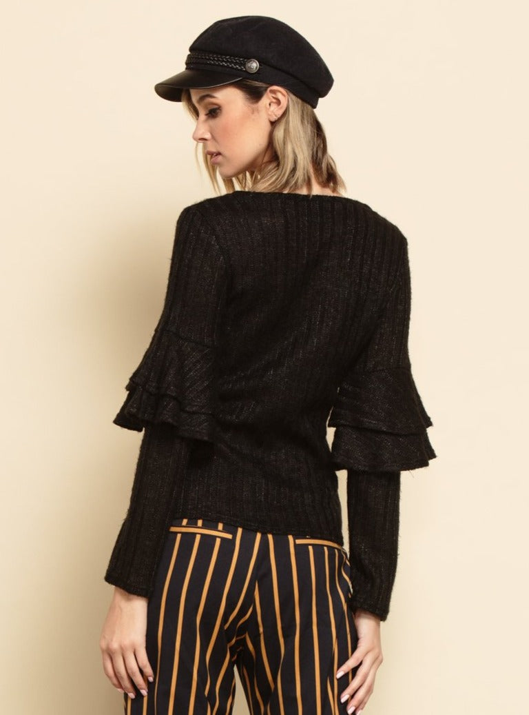 KENNEDY SWEATER | BLACK RIB KNIT