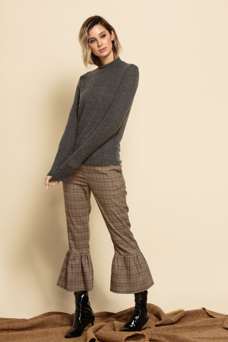 AMBER CROPPED PANTS | BROWN PLAID